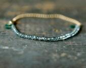 Green Sapphire Gemstone Bracelet Precious Gem Gold Chain Delicate Handmade Jewelry - ShopClementine