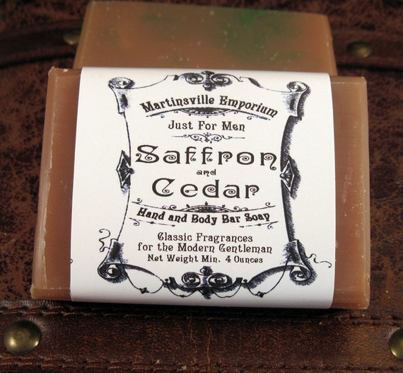 Just for Men - Saffron and Cedar Soap - Traditional Cold Process Handcrafted in Martinsville