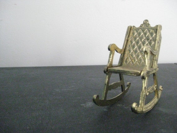 Tiny Victorian Style Gold Rocking Chair