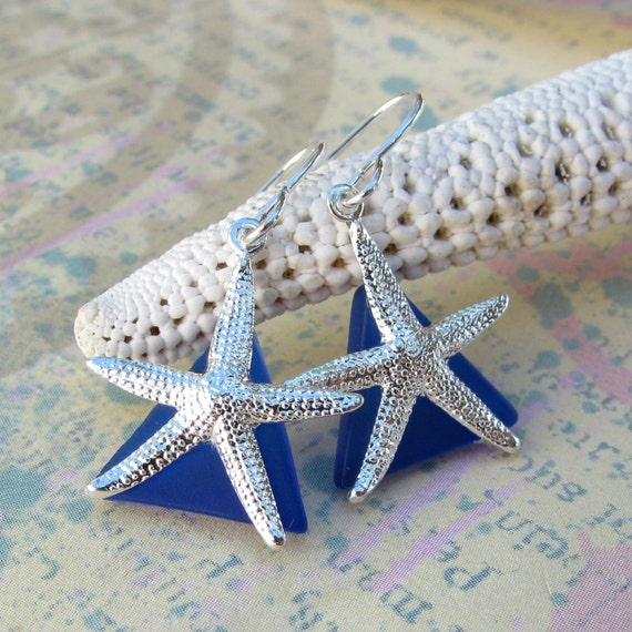 Starfish Earrings Vibrant Blue Stained Glass