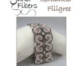 Peyote Pattern - Romantic Filigree Peyote Cuff / Bracelet  - A Sand Fibers For Personal/Commercial Use PDF Pattern