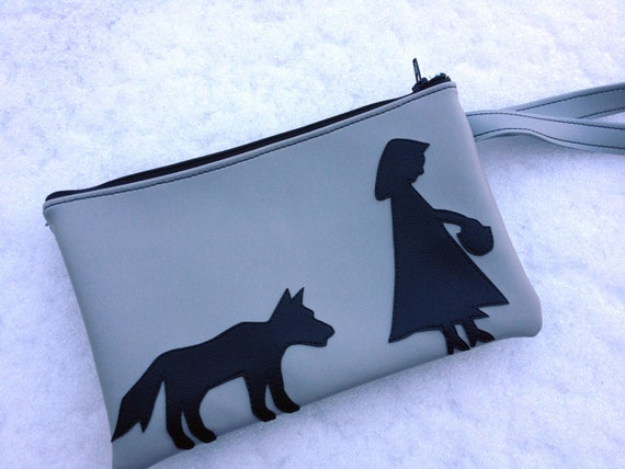 SALE Red Riding Hood and Wolf Gray Vinyl Wristlet