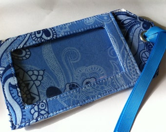 Fabric Luggage Tag - Elegant Blue and White Fabric