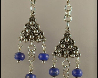 FREE SHIPPING - Lapis & Sterling Silver Dangle Earrings