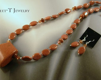 FREE SHIPPING - Goldstone & Sterling Silver Necklace