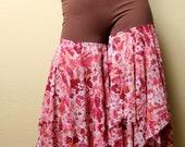 Gypsy Pants - Brown/ Pink Floral - LARGE