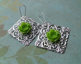 Bright green rose and filigree earrings