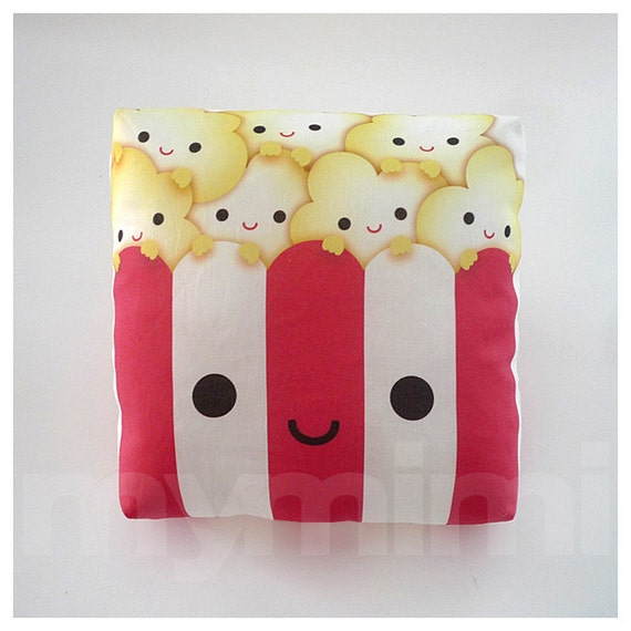 Decorative Pillow, Popcorn Pillow, Movie Night, Party Favor, Red and White, Kawaii, Cushion, Dorm Decor, Room Decor, Childrens Toys, 7 x 7""