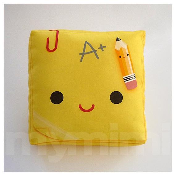 "Notepad, Decorative Pillow, Yellow Pillow, Back To School, Throw Pillow, Toy Pillow, School Pillow, Pencil Pillow, Office Desk Decor, 7 x 7"""