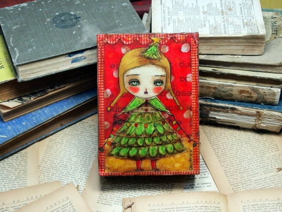 Christmas Tree Girl - Original Mixed Media Painting Collage By Danita Art 5x7 Inches On Deep Wood Panel