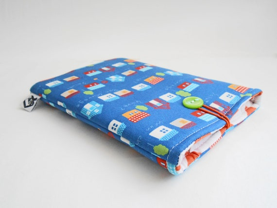 CLEARANCE- Kindle Fire Case , E-Reader Accessorie, fits most ereaders and small tablets -- Little French Houses on blue