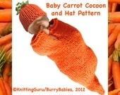 Carrot Baby Cocoon and Hat PDF Knitting Pattern - Fast and Easy DIY Costume  - Baby Photo Prop - Shower Gift