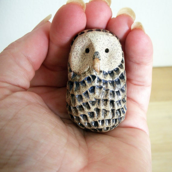Little Feathered Owl in Stoneware Ceramic Clay