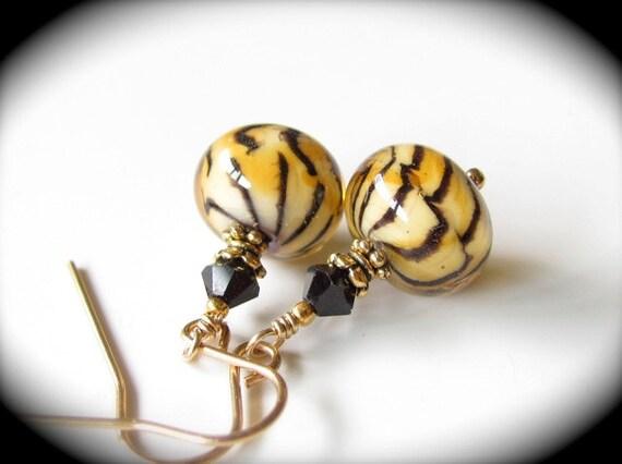 Tiger Lampwork Earrings 14kt Gold Fill Swarovski Jet Black Crystals