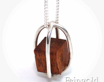Silver Necklace with Floating Wood Cube - Sterling Silver 18 Inch Chain - Free US Shipping