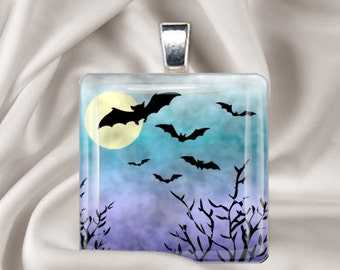 Moonlit Bats  - Glass Tile Pendant - Halloween Pendant Necklace
