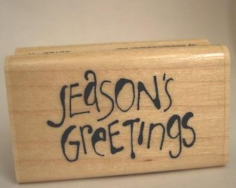 seasons greetings rubber stamp