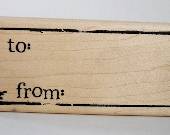 to and from  tag rubber stamp