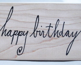 happy birthday inky calligraphy rubber stamp