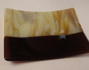 Fused Glass Dish, Handmade Plate,  Brown Tones, Statteam