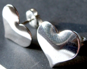 Large Heart Studs Sterling Silver Heart Post Earrings Heart Stud Earrings Valentine Jewelry Gift