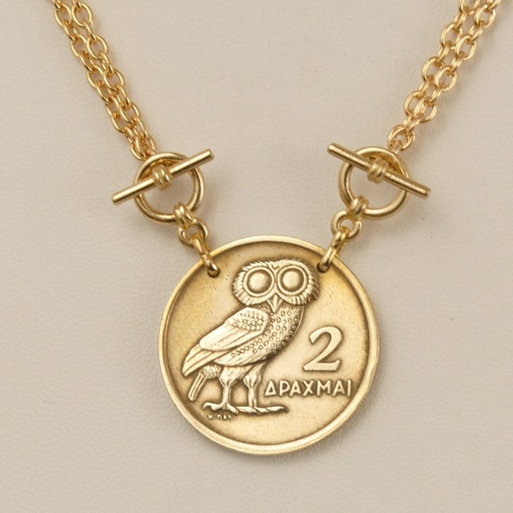 Greek Coin Necklace 1973 Owl Coin