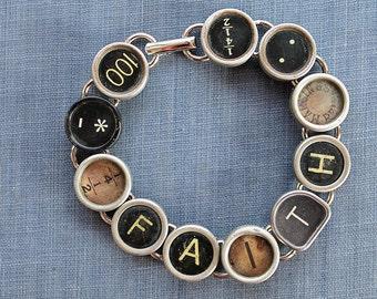 TYPEWRITER Key BRACELET Jewerly Made with Typewriter Keys FAITH