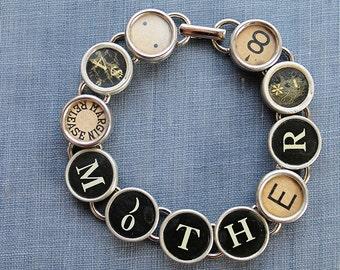 TYPEWRITER Key BRACELET Jewerly Made with Typewriter Keys MOTHER
