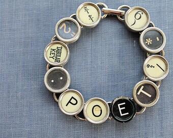 TYPEWRITER Key BRACELET Jewerly Made with Typewriter Keys POET
