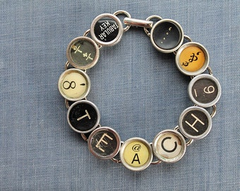 TYPEWRITER Key BRACELET Jewerly Made with Typewriter Keys TEACH