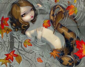 Autumn Mermaid melancholy fall leaves fairy art print by Jasmine Becket-Griffith 8x10