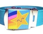 Happy Rainbow Starburst Canvas Belt