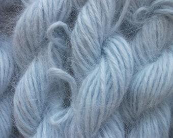One SKEIN Light blue 100% angora bunny rabbit fur knitting yarn