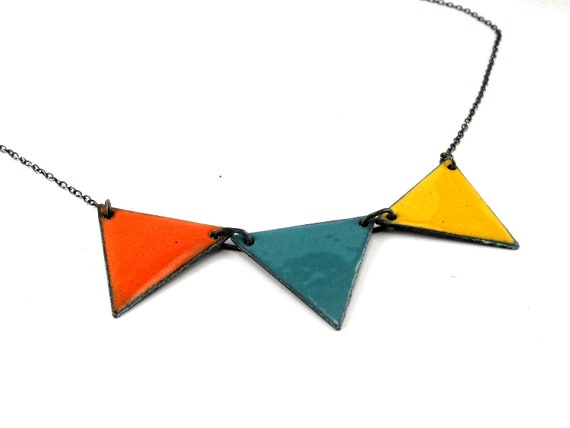 Bunting Necklace - Enameled Copper and Sterling Silver - Your Choice of Colors