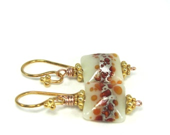 Glass, Lampwork, Rose Gold, Vermeil Earrings