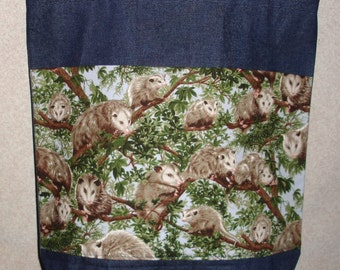 New Large Handmade Opossum Wildlife Denim Tote Bag