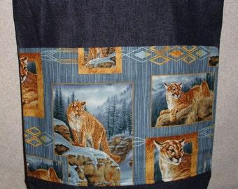 New Large Handmade Cougar Mountain Lion Squares Denim Tote Bag