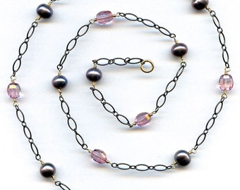 Pink Topaz And Pearl Necklace FD707