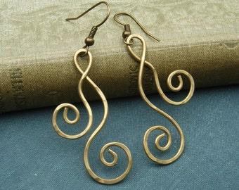 Brass Swirl Dangle Earrings, Dancing Double Curl Spirals Long Earrings, Christmas Gift for Her Metal Wire Jewelry, Women, Brass Earrings