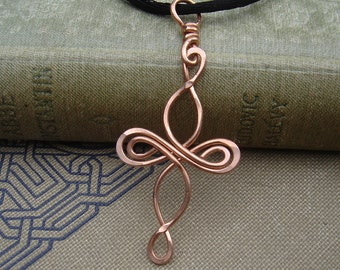 Celtic Cross Infinity Loops Copper Pendant, Copper Cross Necklace, Celtic Knot Jewelry, Celtic Jewelry, Confirmation Gift, First Communion