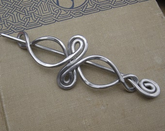 Celtic Infinity Loops Aluminum Shawl Pin, Hair Pin, Hair Slide, Barrette, Scarf Pin, Sweater Clip Brooch - Celtic Knot Long Hair Accessories