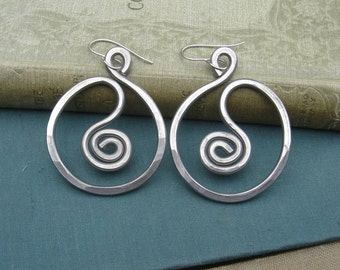 Very Big Spiral in Circle Hoop Earrings Light Weight Aluminum Jewelry, Big Hoops, Large Hoops Gift for Women Big Earrings Statement Earrings