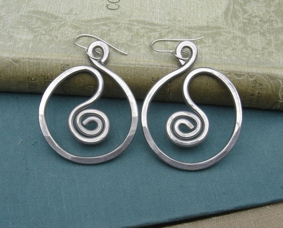 Very Big Spiral in a Circle Hoop Earrings ,Light Weight Aluminum Wire, Large Hoops, Aluminum Jewelry, Women, Big Statement Earrings