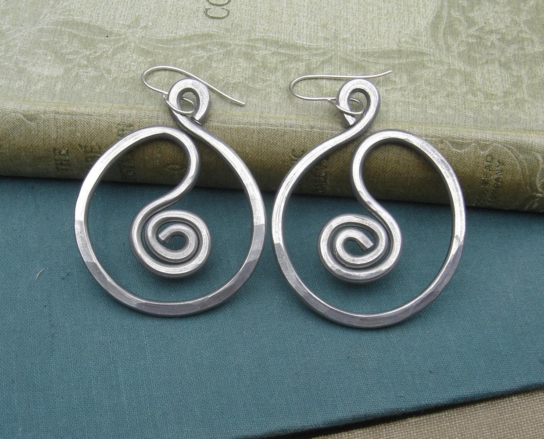 Very Big Spiral In Circle Hoop Earrings Light Weight Aluminum