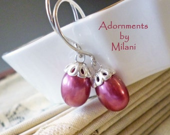Cranberry Red Pink Earrings Pearls Bridesmaids Wedding Sterling Silver Beaded Jewelry