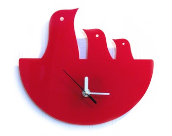 Red Bird Nest Hanging Clock