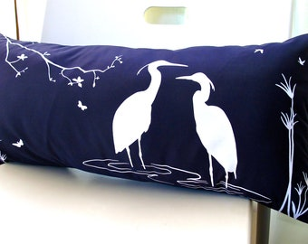 SALE - Navy  Blue Egret Lovers in the Swamp Rectangle Pillow