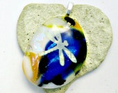 Fused Glass Jewelry / Glow In The Dark Dragonfly Pendant