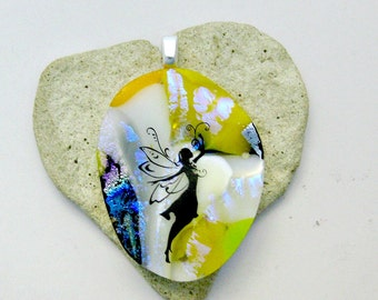 Art Glass Dichroic Fused Glass Fairy  Pendant