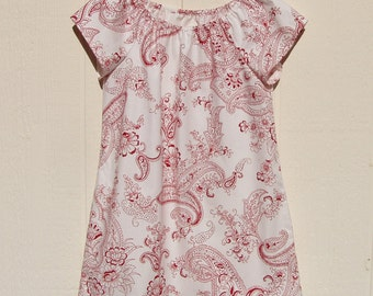 Red Paisley on White Peasant Dress, Size 8